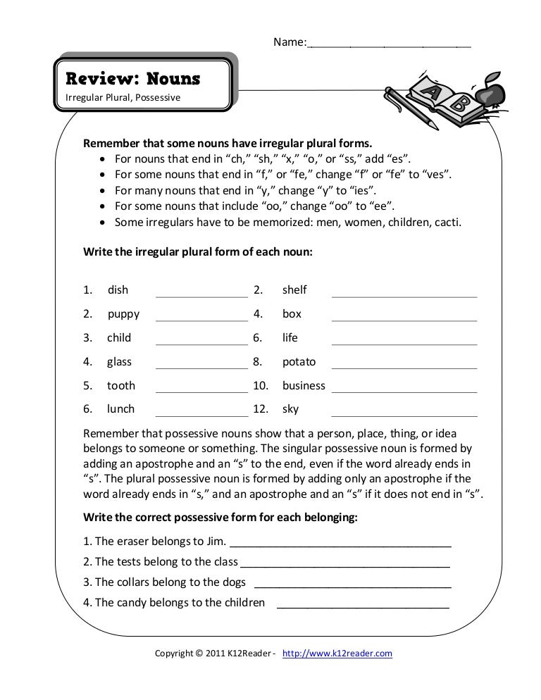 Singular And Plural Nouns Worksheets Pdf Worksheets for all ...