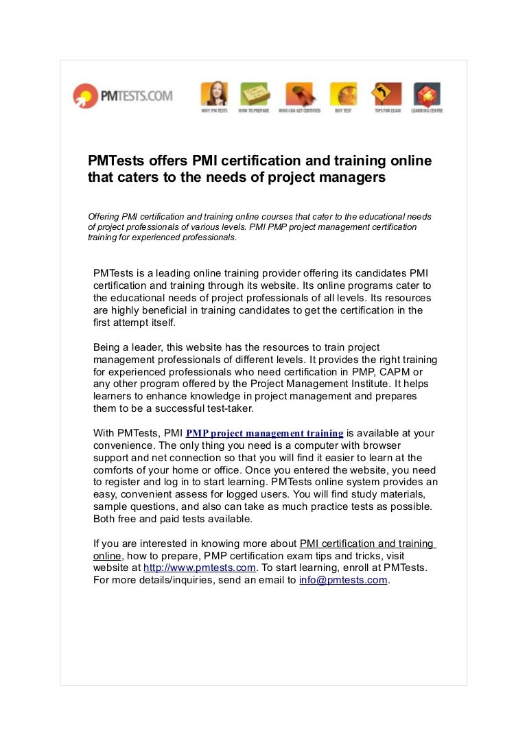 Pmtests Offers Pmi Certification And Training Online That Caters To T