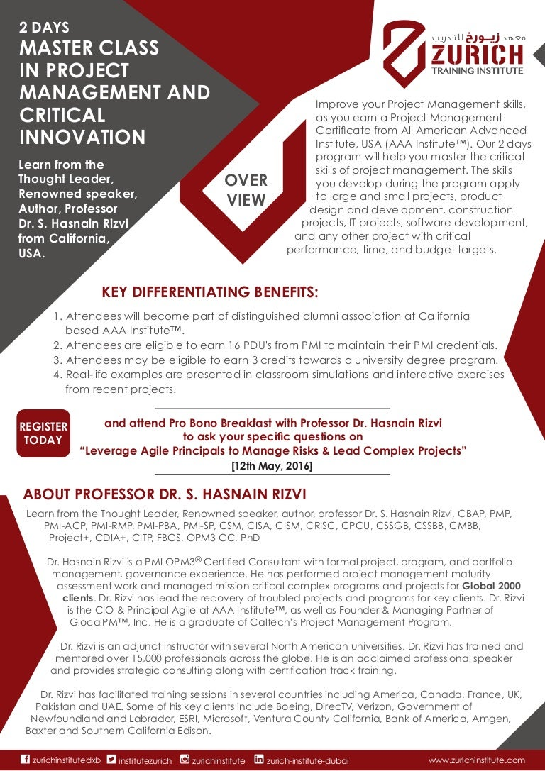 Project Management And Crititcal Innovation Master Calss