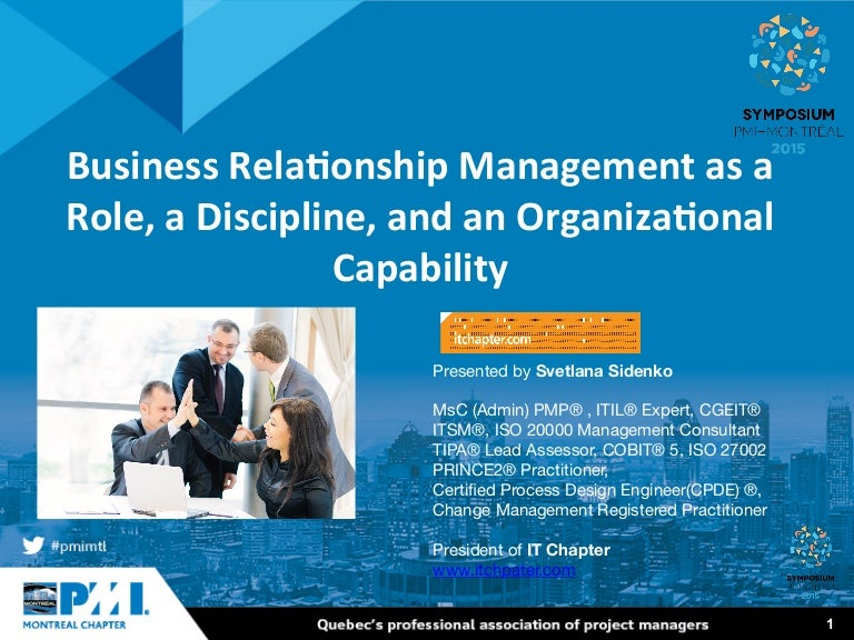 Symposium 2015 Business Relationship Management As As A Role A Dis