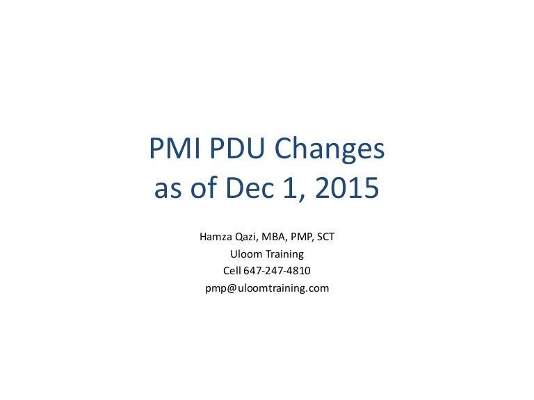 Pmi Pdu Changes