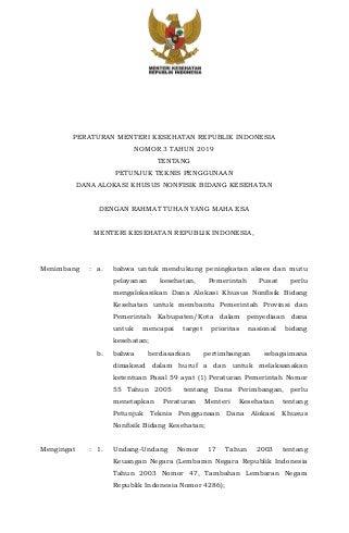Permenkes No. 3 Tahun 2019 tentang Juknis penggunaan Dana alokasi khusus nonfisik Bidang Kesehatan Tahun 2019