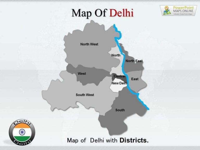Delhi Map PowerPoint Templates