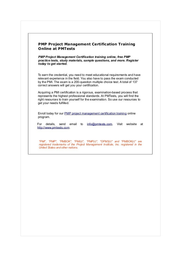 Pmp Project Management Certification Training Online At Pmtests