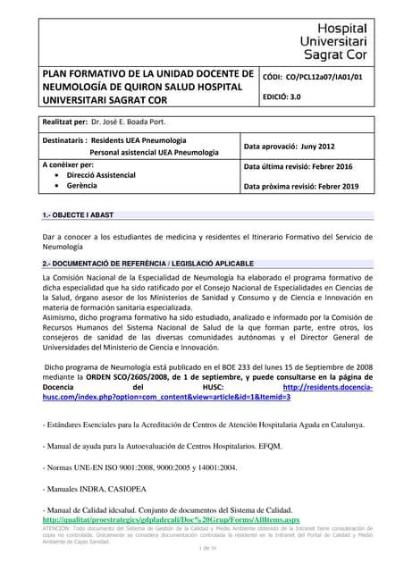 Itinerari formatiu pneumologia 2018 2019