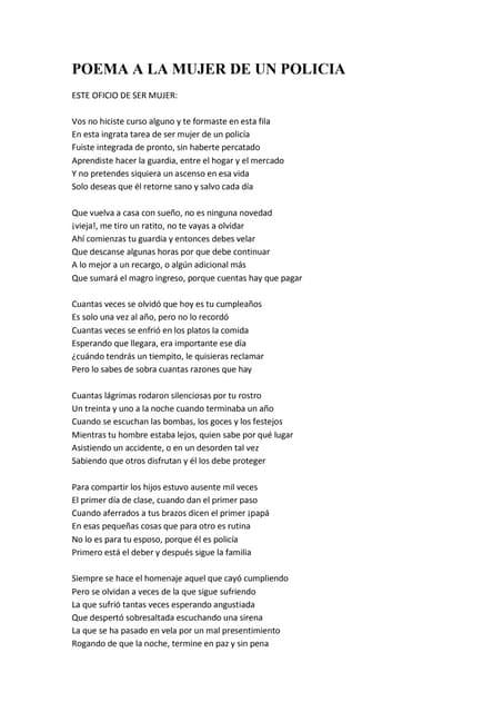 Poema A La Mujer De Un Policia