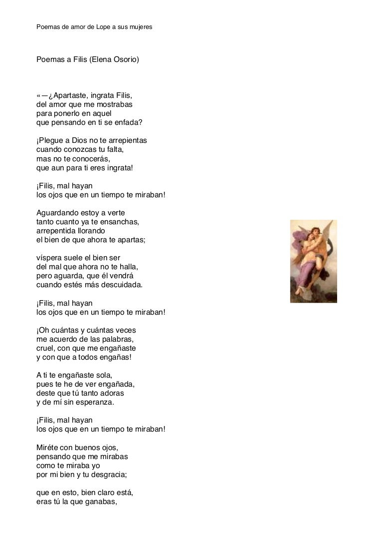 Poemas De Lope De Vega A Sus Mujeres