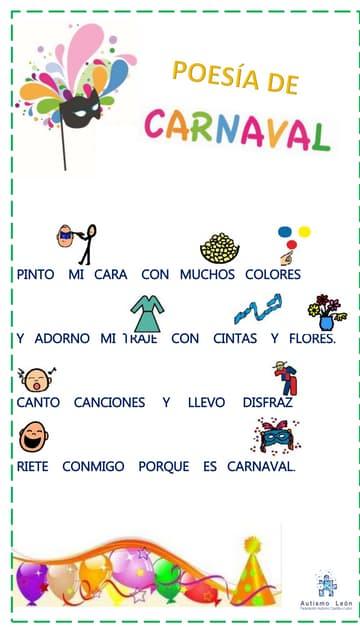Poesía de carnaval con pictogramas.