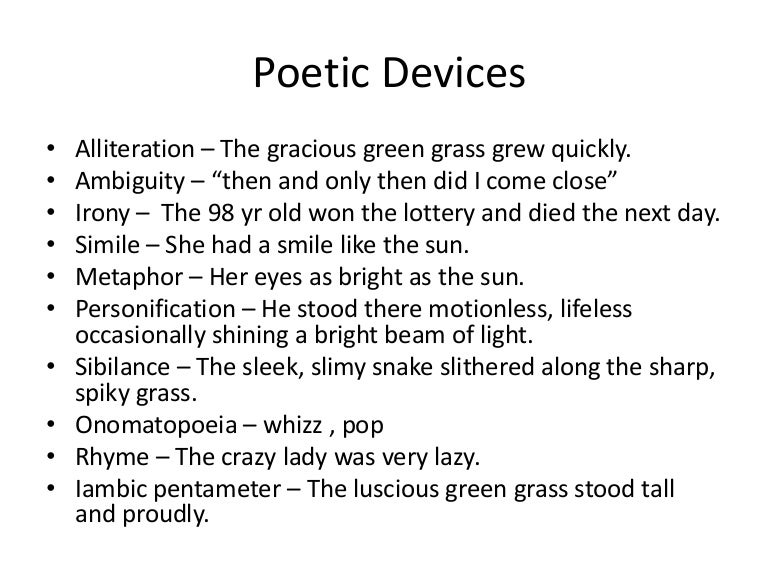 Examples of poetic devices ppt video online download.