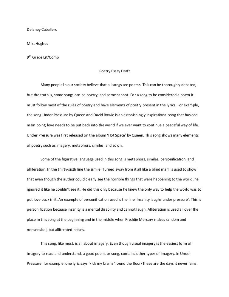 Sample Poem Analysis Essay | Resume CV Cover Letter