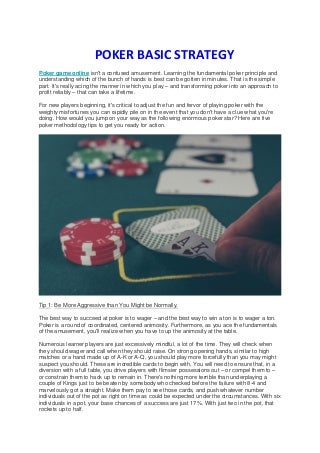 POKER BASIC STRATEGY