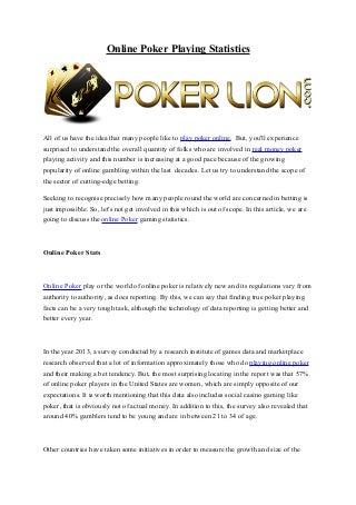 Poker playing statistics