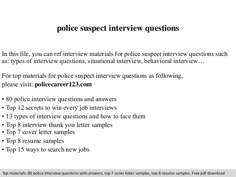 Police Suspect Interview Questions