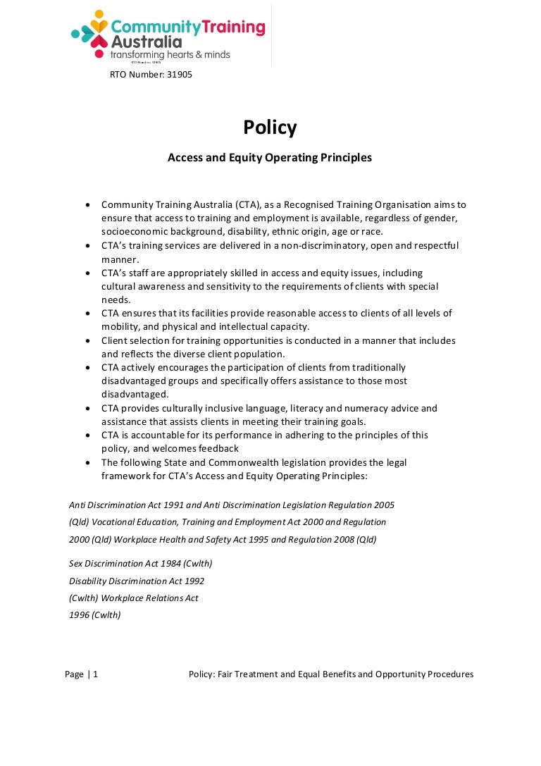 policy access and equity operating principles