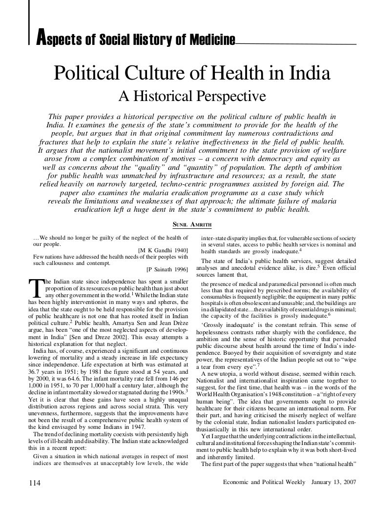 Political Culture of Health in India: A Historical Perspective