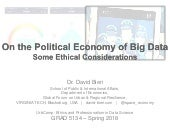 On the Political Economy of Big Data: Some Ethical Considerations