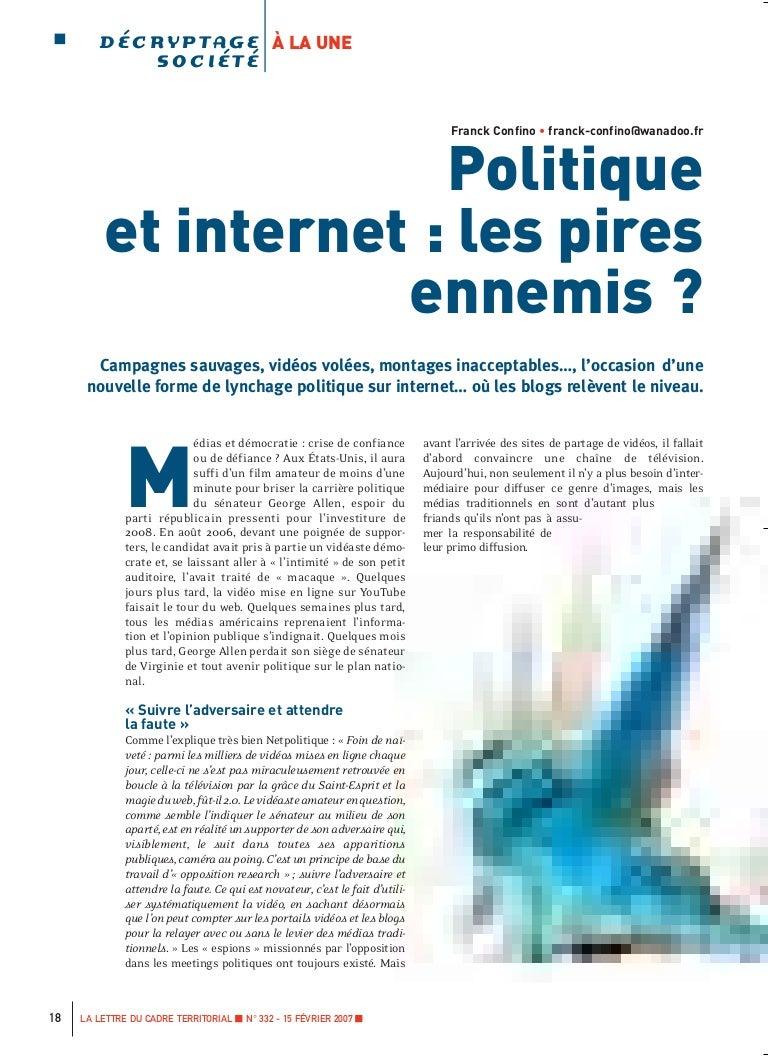 Politique Et Internet Les Pires Ennemis La Lettre Du Cadre 2007