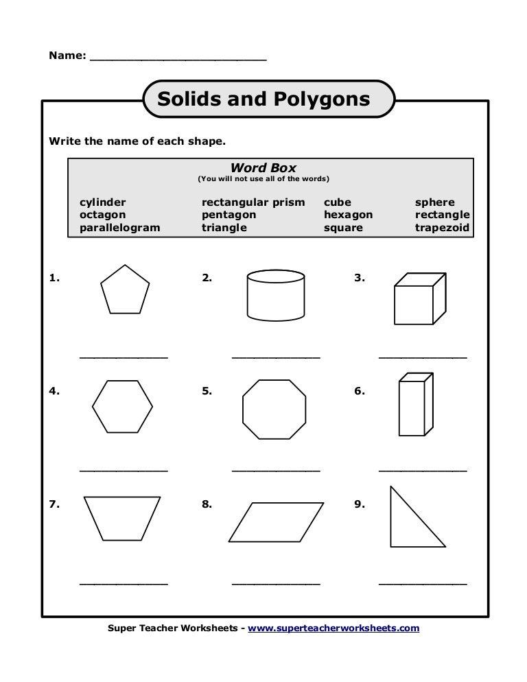 Polygons – Naming Polygons Worksheet