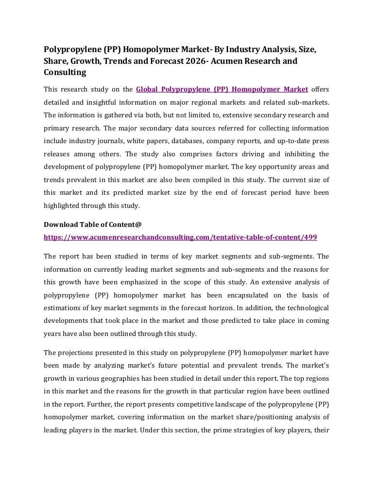 Polypropylene (PP) Homopolymer Market- By Industry Analysis, Size, Sh…