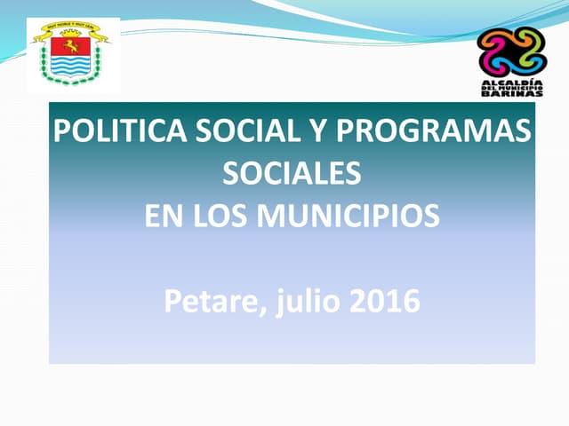 La gestión del desarrollo social en el municipio Barinas