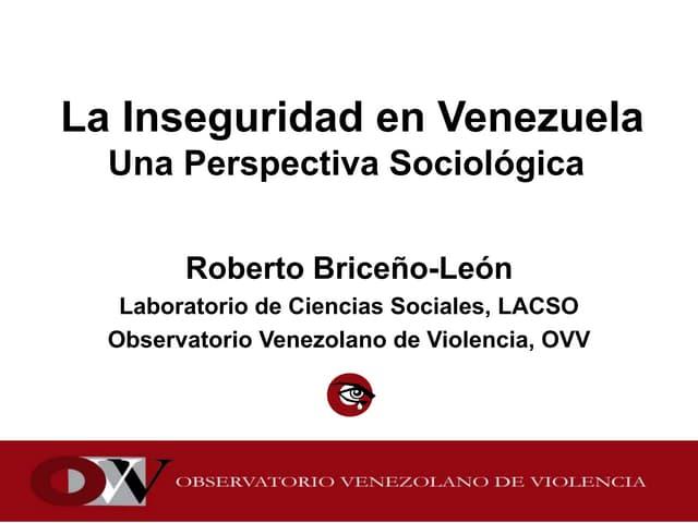 La inseguridad en Venezuela, una perspectiva sociológica.