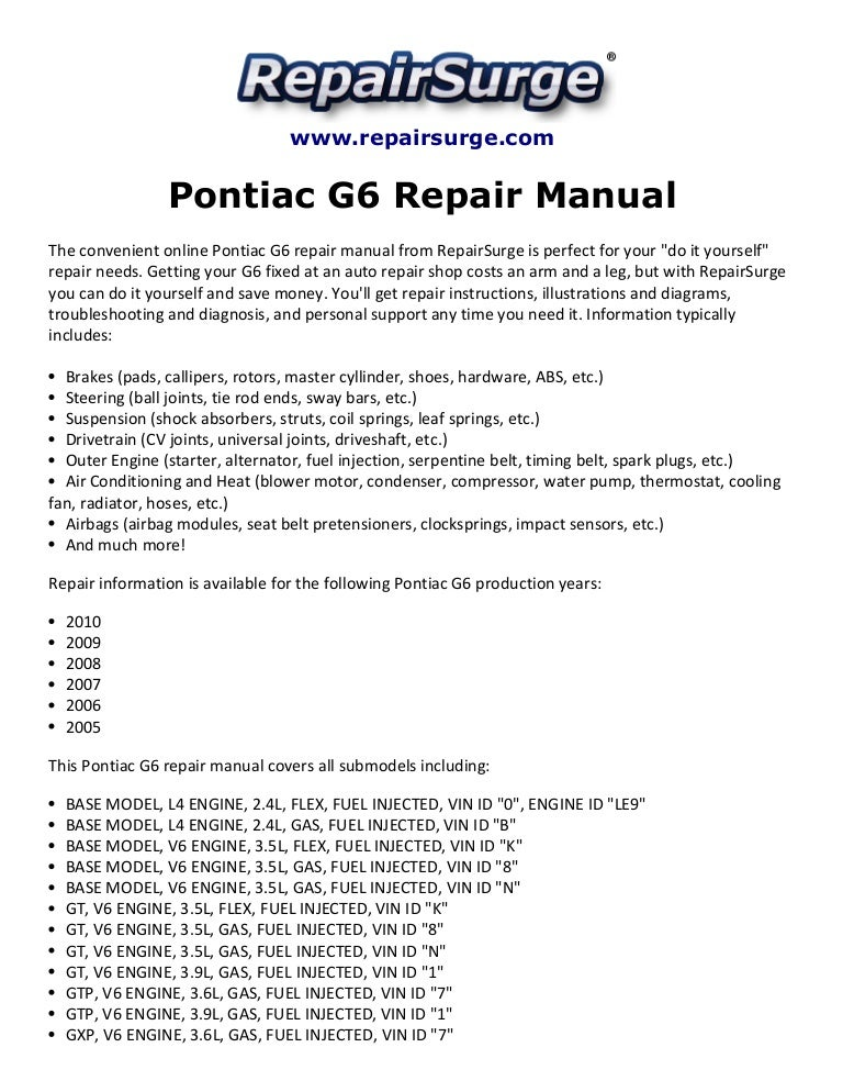 pontiac g6 repair manual 2005 2010 rh slideshare net 2006 pontiac g6 owner's manual free 2006 pontiac g6 owner's manual free