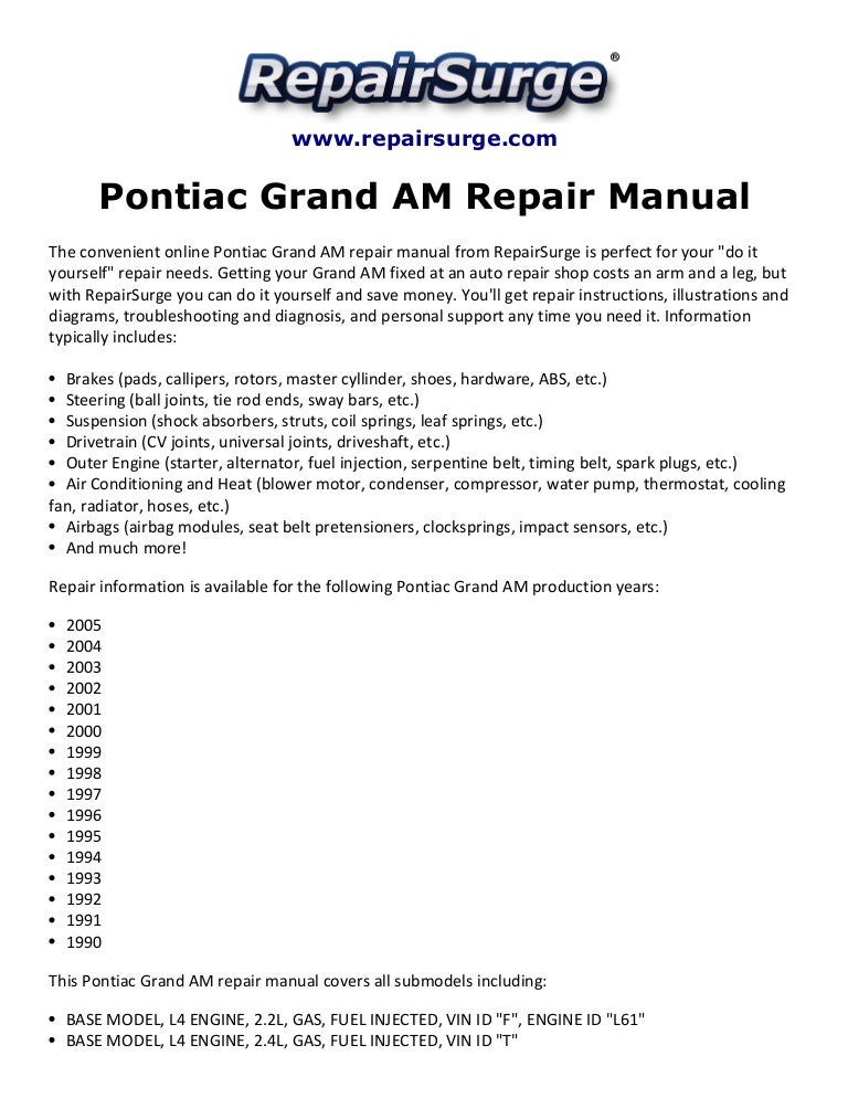 Pontiac Grand Am Repair Manual 1990 2005