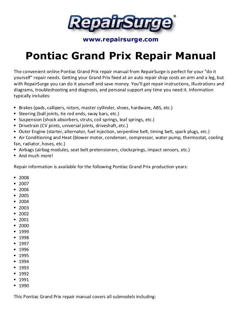 Pontiac Grand Prix Repair Manual 1990 2008