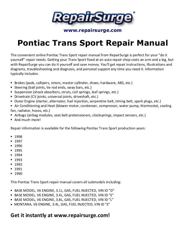 Pontiac trans sport repair manual 1990 1998SlideShare