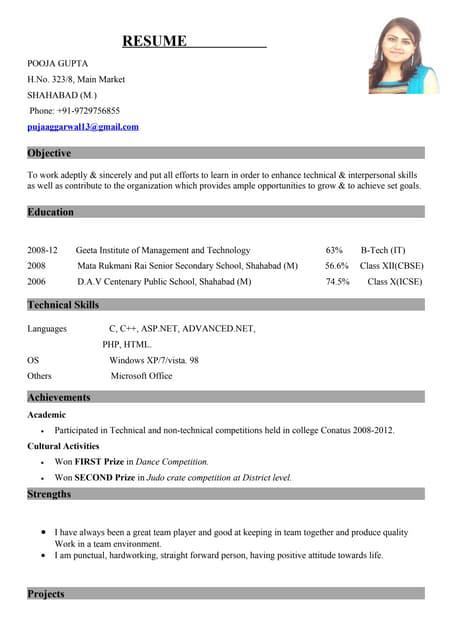 pooja resume new