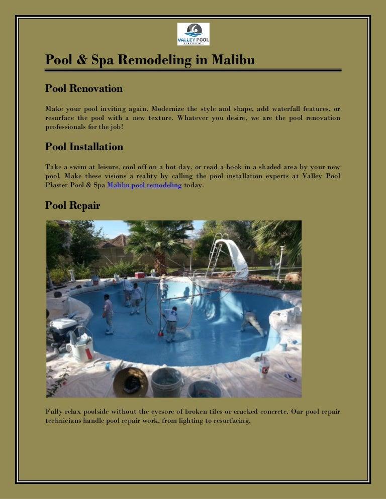 Pool Spa Remodeling In Malibu Valley Pool Plaster