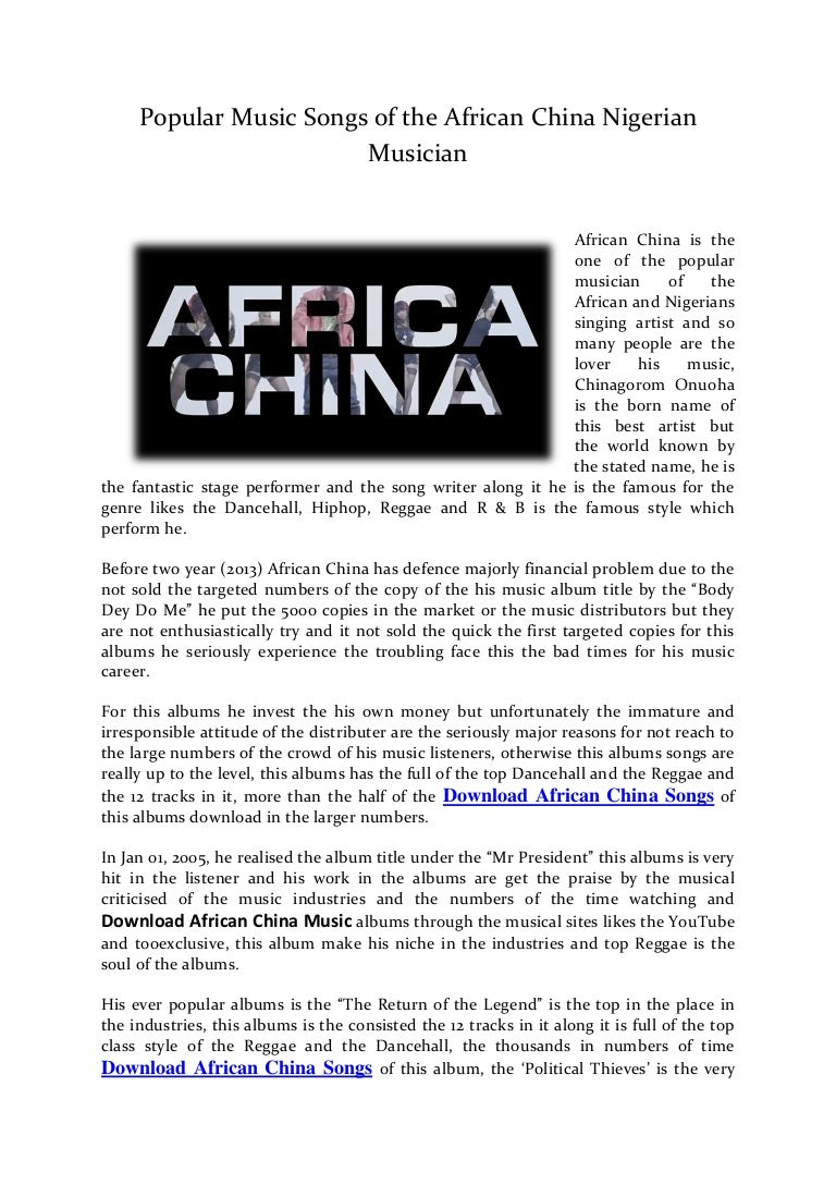 Popular Music Songs of the African China Nigerian Musician