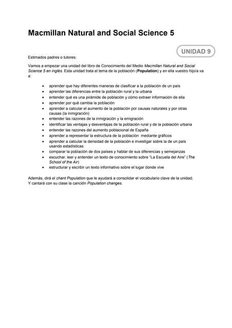 Population. letter to parents.unit 9 resumida