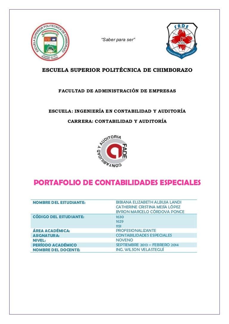 PORTAFOLIO DEL ESTUDIANTE CONTABILIDADES ESPECIALES