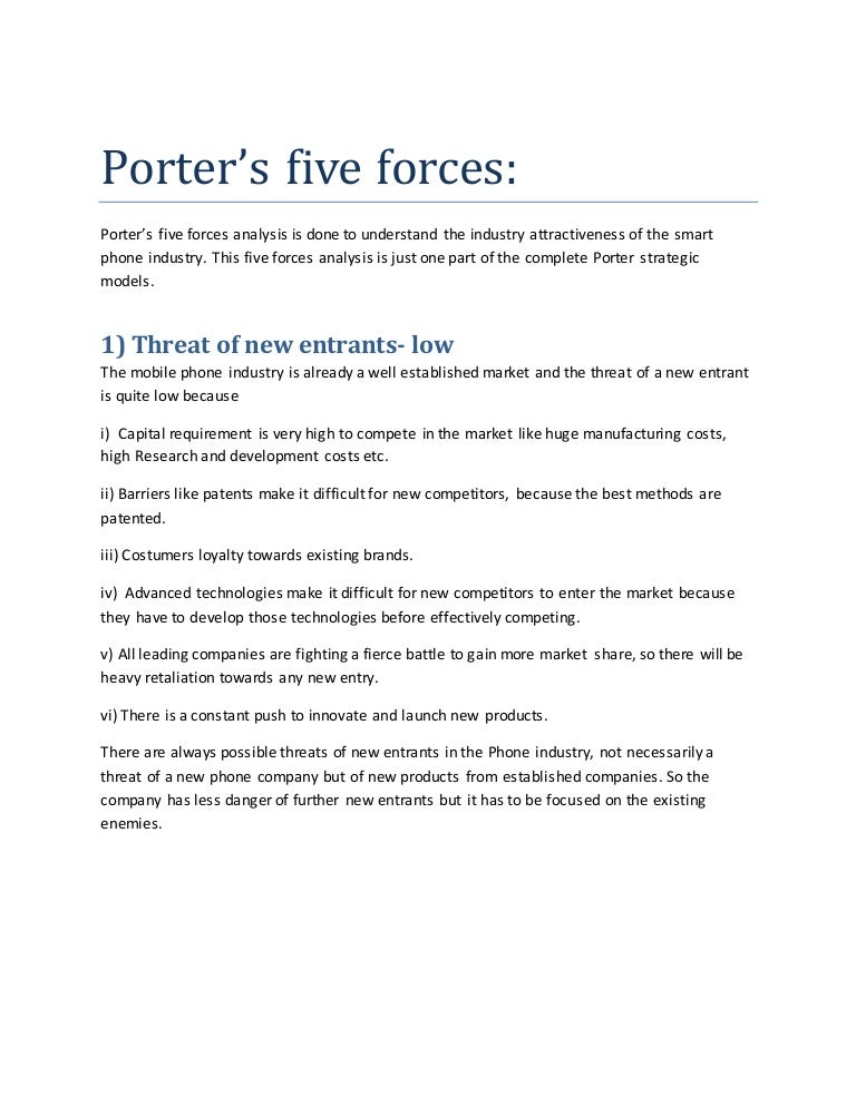 Porters 5 forces for mobile industry – Industry Analysis Example