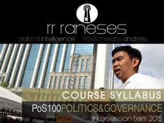 POS100 Raneses - Syllabus - ADMU Intersession2015