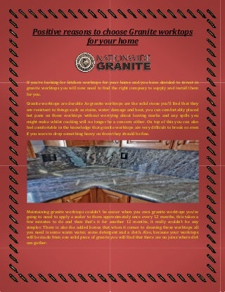 positive reasons to choose granite worktops for your home