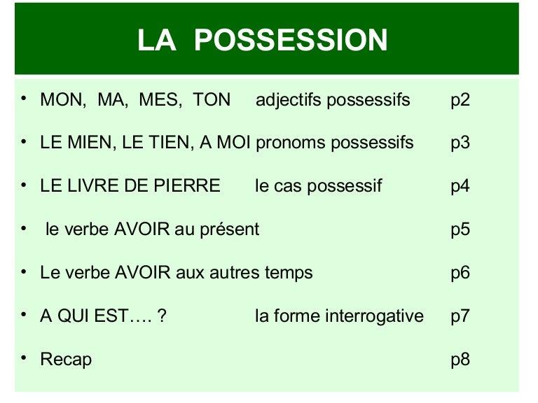 Grammaire Anglaise La Possession