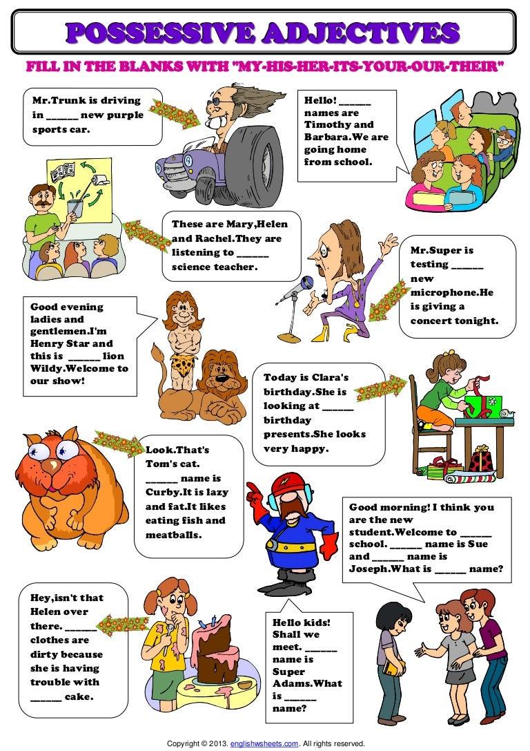 Worksheet Possessive Adjectives Worksheet Grass Fedjp Worksheet