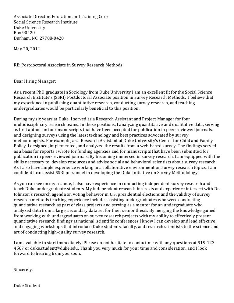 post doc cover letter sociology - Postdoctoral Cover Letter