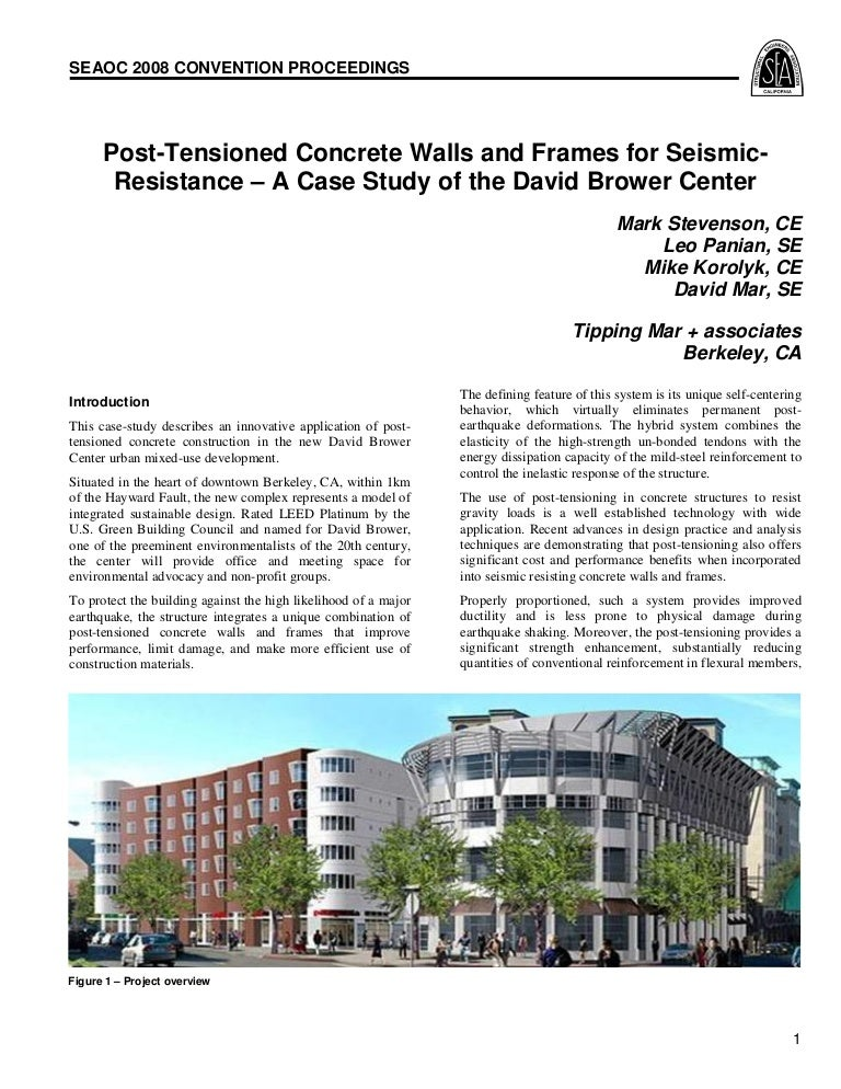 Post tensioned concrete walls & frames for seismic resistance