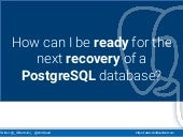 Webinar: PostgreSQL continuous backup and PITR with Barman