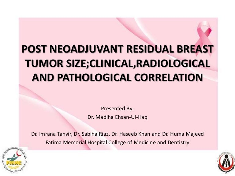 Post neoadjuent breast cancer tumor size