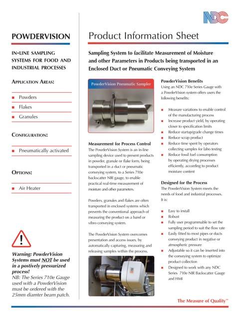Folleto Powder vision 710e accesorio para productos en polvo