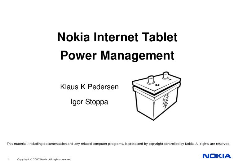 Power Management for the Nokia Internet Tablets