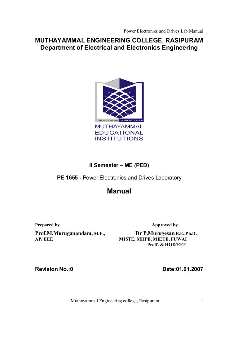 Power Electronics Lab Manual Me Ped Software For Designing Circuits Electronicslab