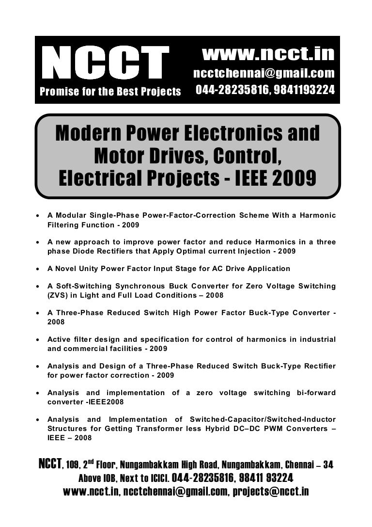 Power Electronics Project Titles 2009 2010 Ncct Final Year Projects New In