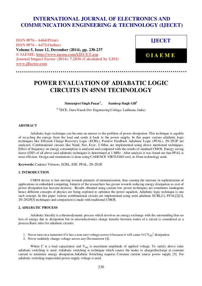 Power Evaluation Of Adiabatic Logic Circuits In 45 Nm Technology Charging Circuit Related Keywords Suggestions