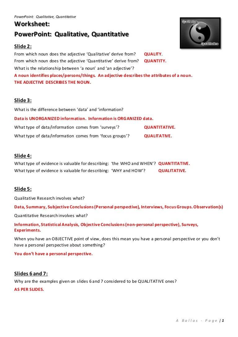 worksheet Qualitative Vs Quantitative Worksheet worksheet answers qualitative quantitative powerpoint