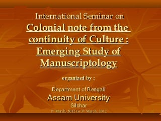 Manuscript Heritage of Barak Valley in Assam by Jayanti Chakravorty, Library and Information Science Professional